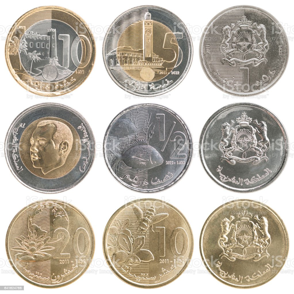 Full set of coins of Morocco stock photo