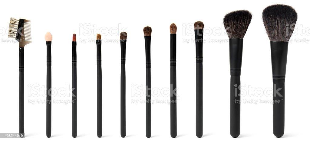 Full set of cosmetic brushes stock photo