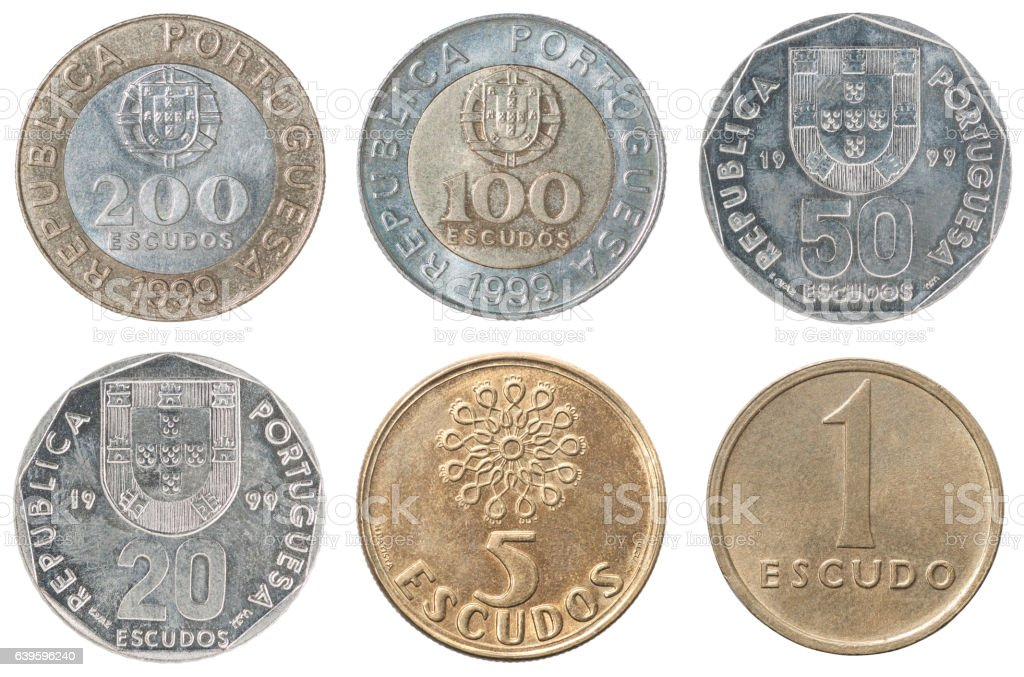 Full set of Portugal coin stock photo