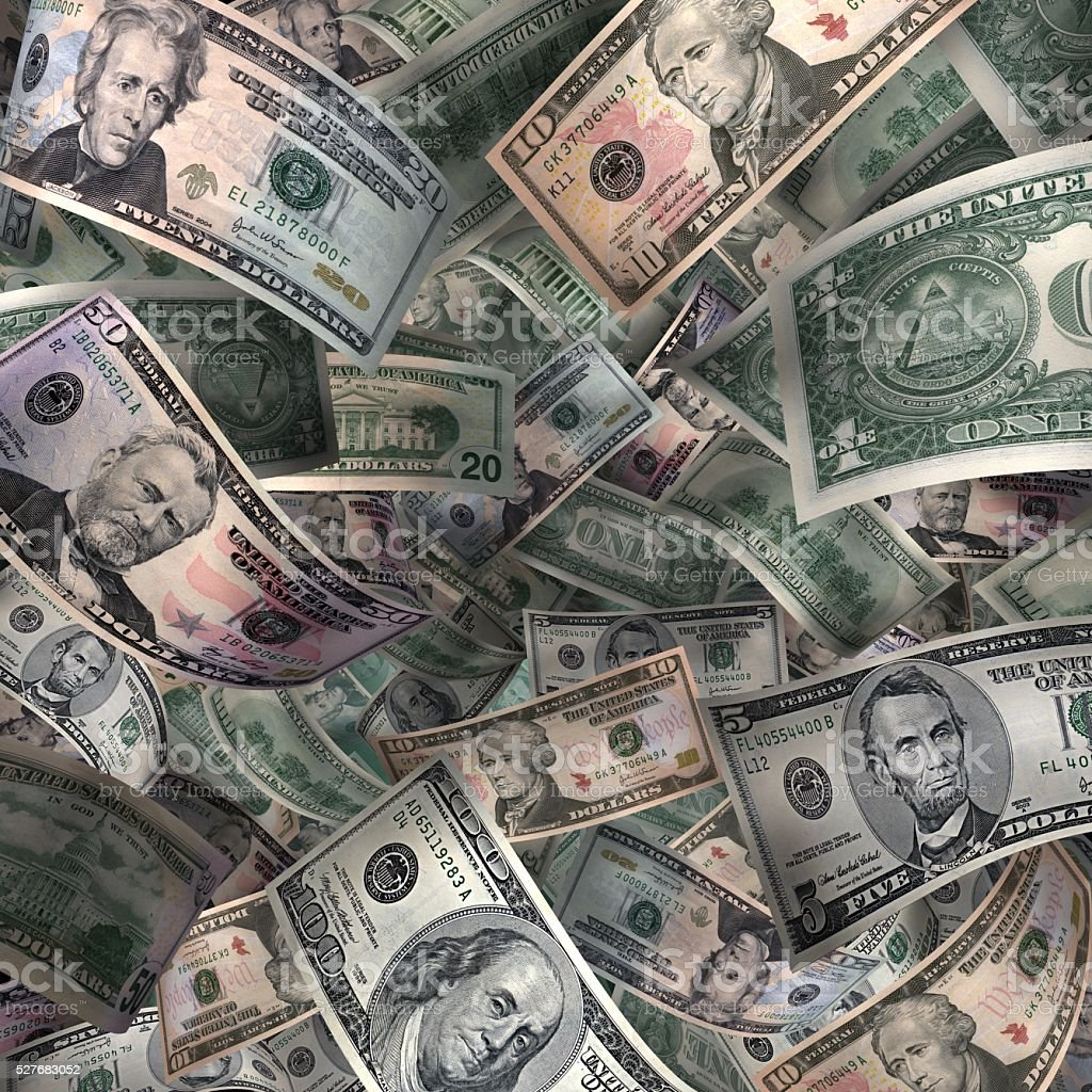 Full Sheet of American Paper Currency stock photo