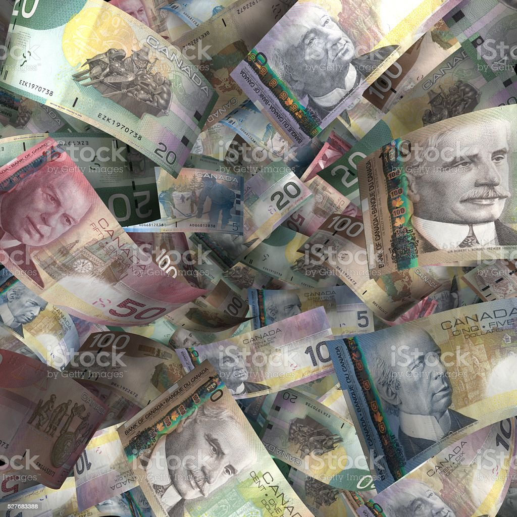 Full Sheet of Canadian Paper Currency stock photo