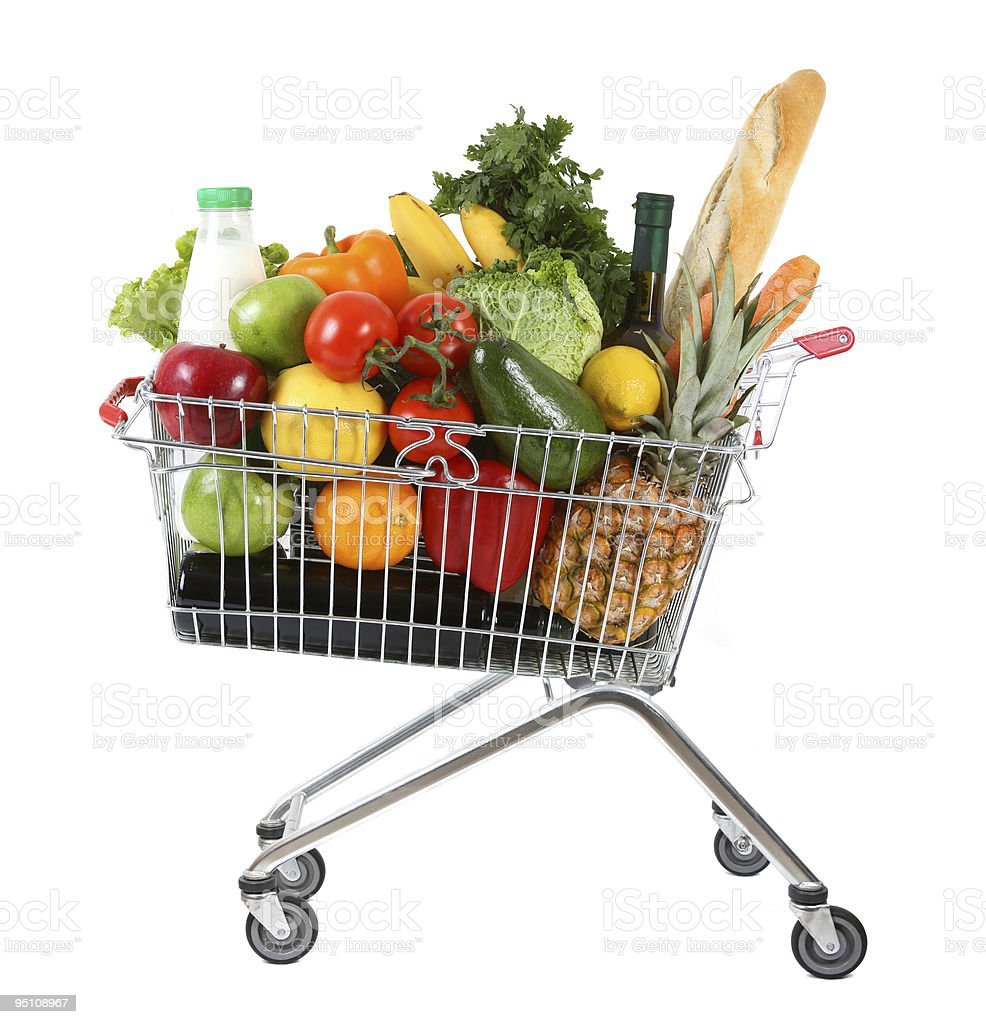 Full shopping trolley stock photo
