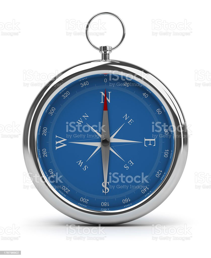 Full shot of a blue compass on a white background stock photo
