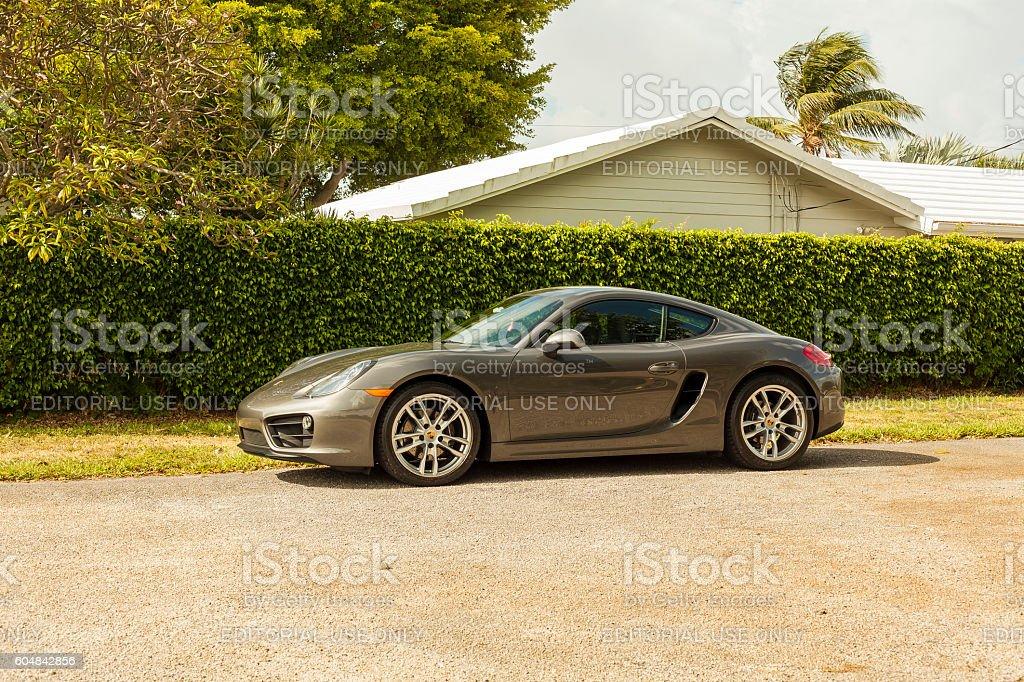 Full shot Porsche Cayman in residential area in Miami stock photo