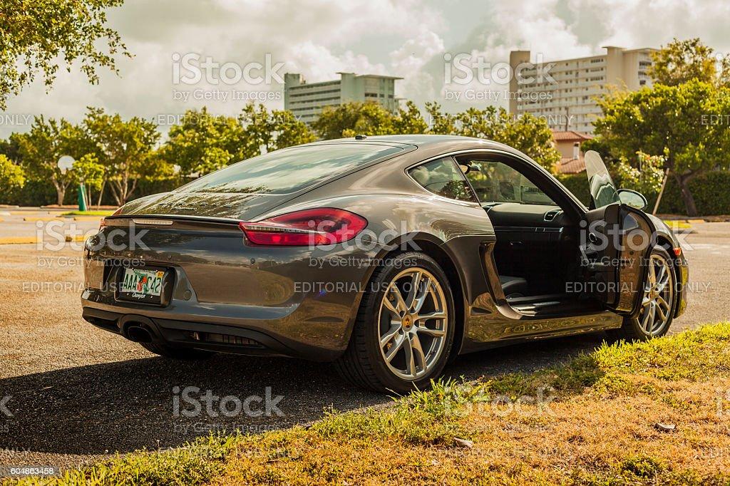 Full shot side ways inside view of a Porsche Cayman stock photo