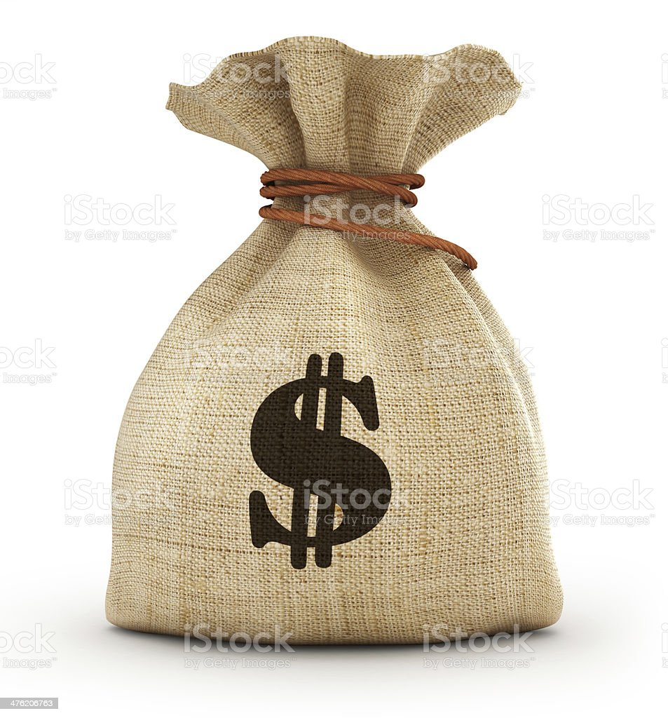 Full small sack witw dollar stock photo