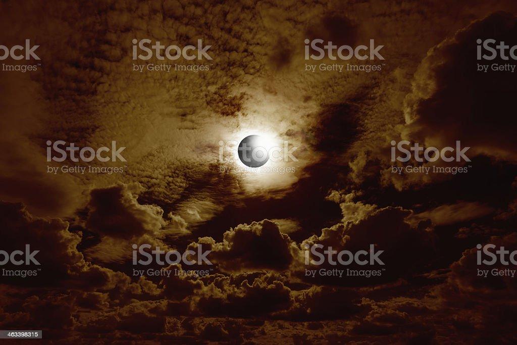 Full solar eclipse stock photo