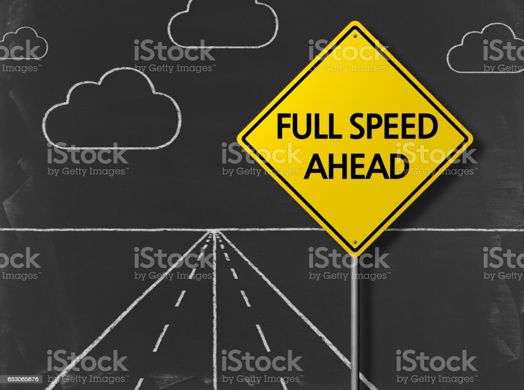 Full Speed Ahead - Business Chalkboard Background stock photo