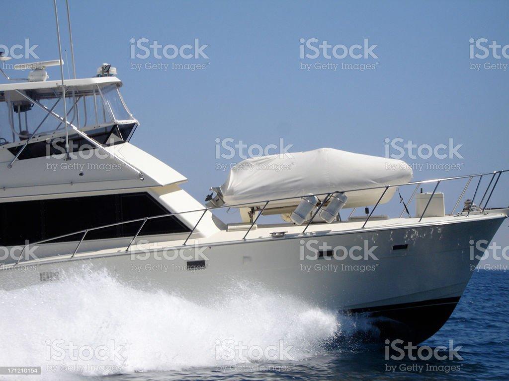 Full Speed Ahead Nautical Vessel Wake Speedboat Motorboat royalty-free stock photo