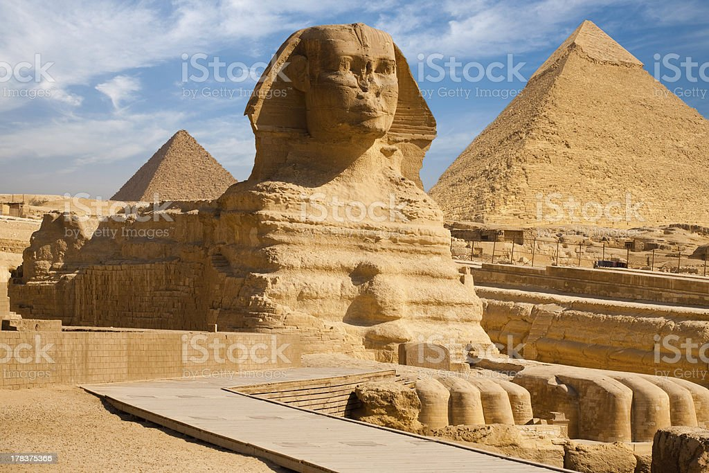 Full Sphynx Profile Pyramid Giza Egypt stock photo