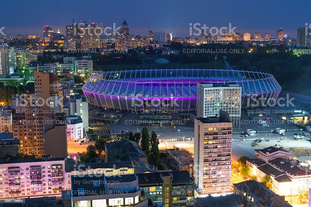 Full stadium fans on concert of Okean Elzy on JUNE stock photo