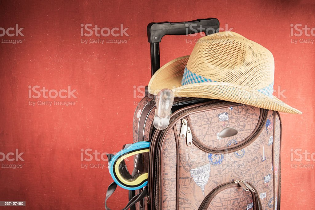 Full Suitcase of a traveler stock photo