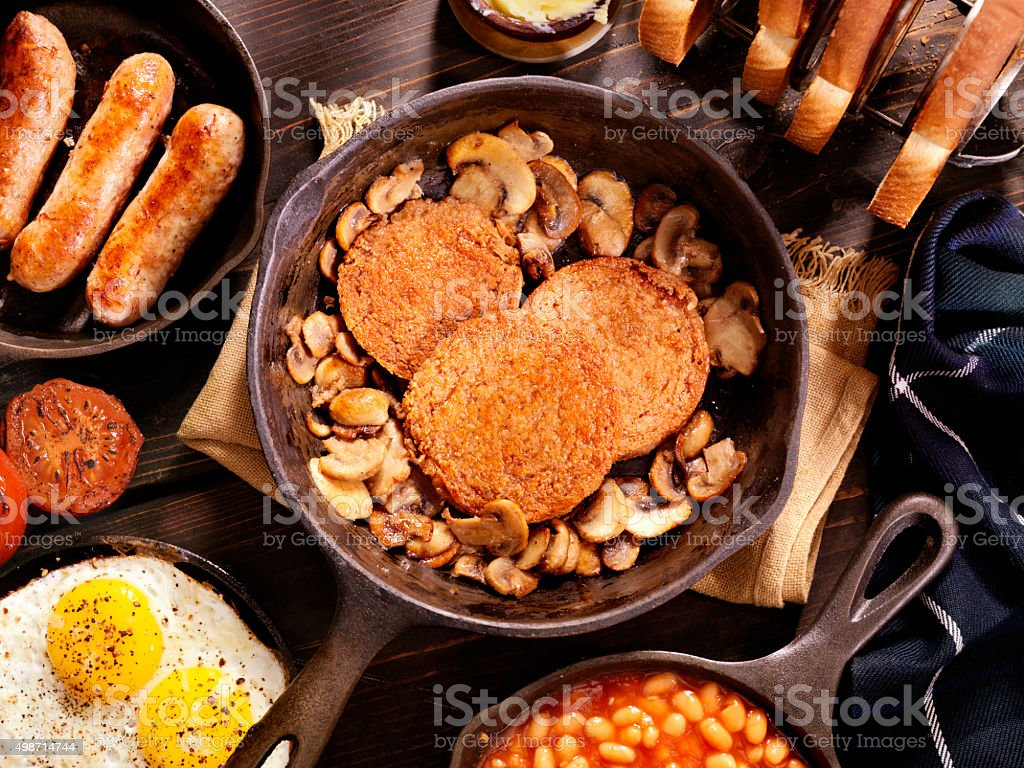 Full Traditional Scottish Breakfast Featuring Haggis stock photo