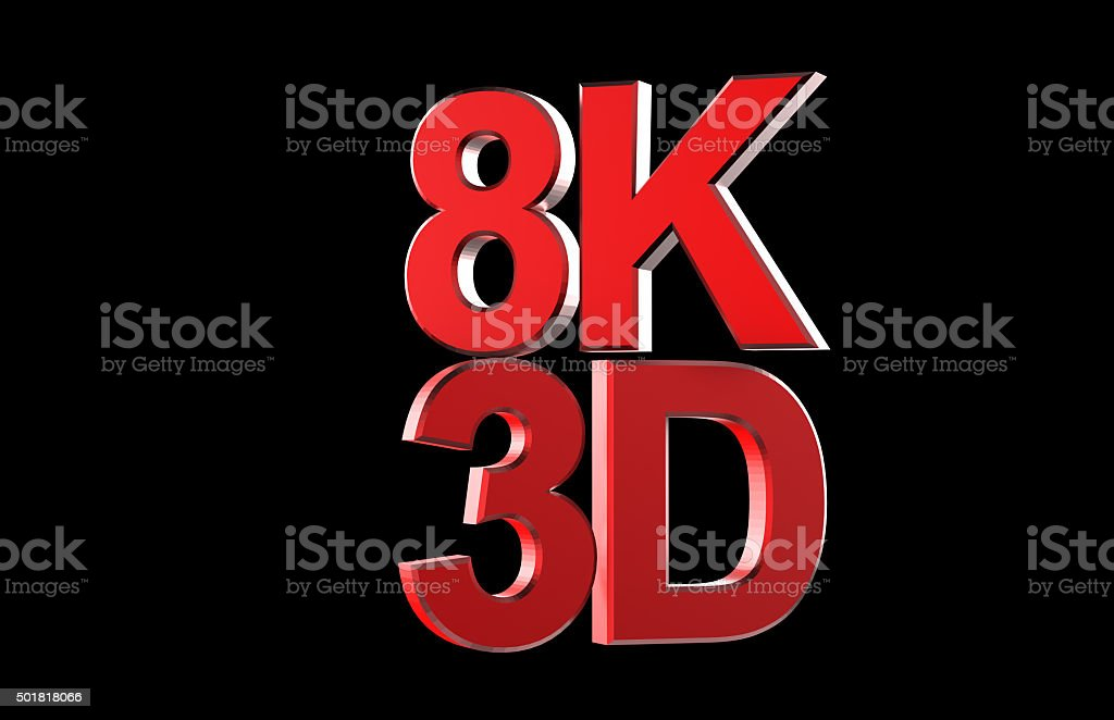 Full ultra HD 8k 3D logo isolated with black stock photo