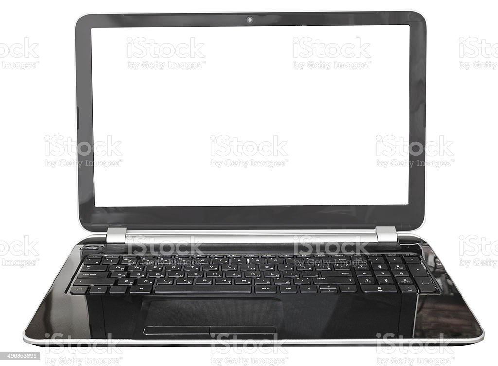 full view of black laptop with cut out screen stock photo