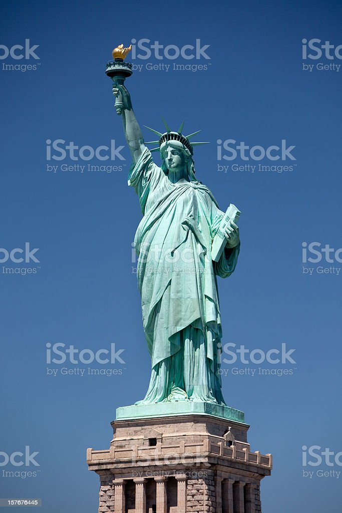 Full view of Liberty Statue stock photo