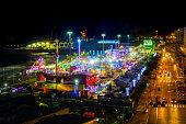 Full view of Luna Park of Genoa(Genova) by night