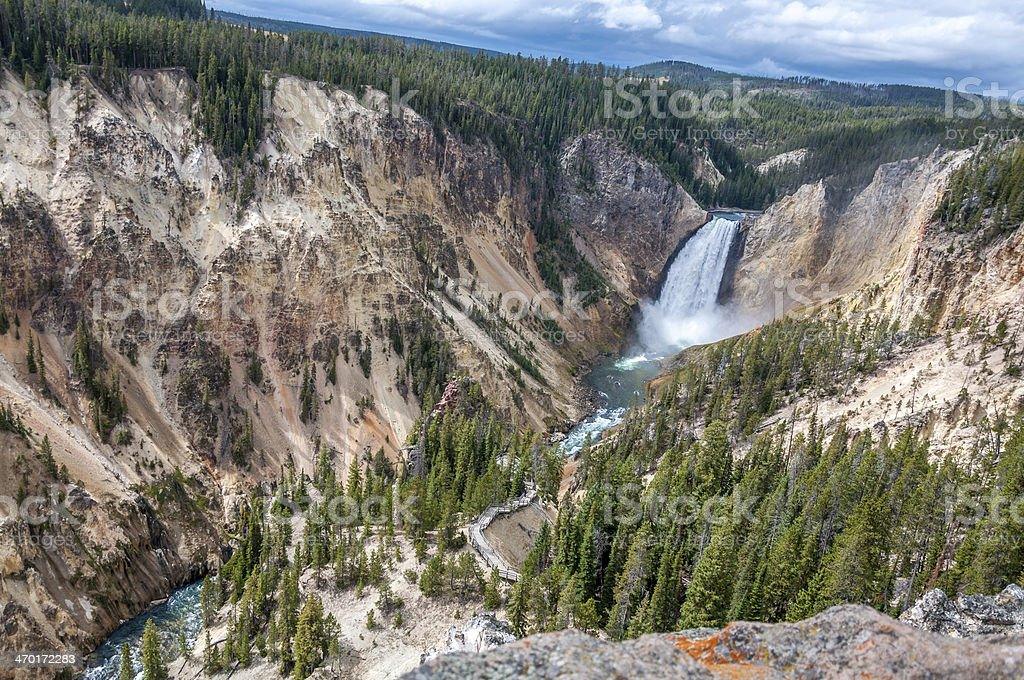 Full view of the Lower Yellowstone Falls stock photo