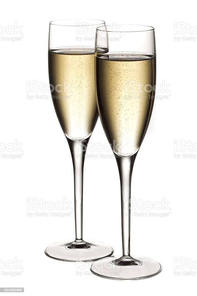 full view of two glasses  of white wine stock photo