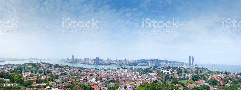 Full view of xiamen from gulanyu stock photo