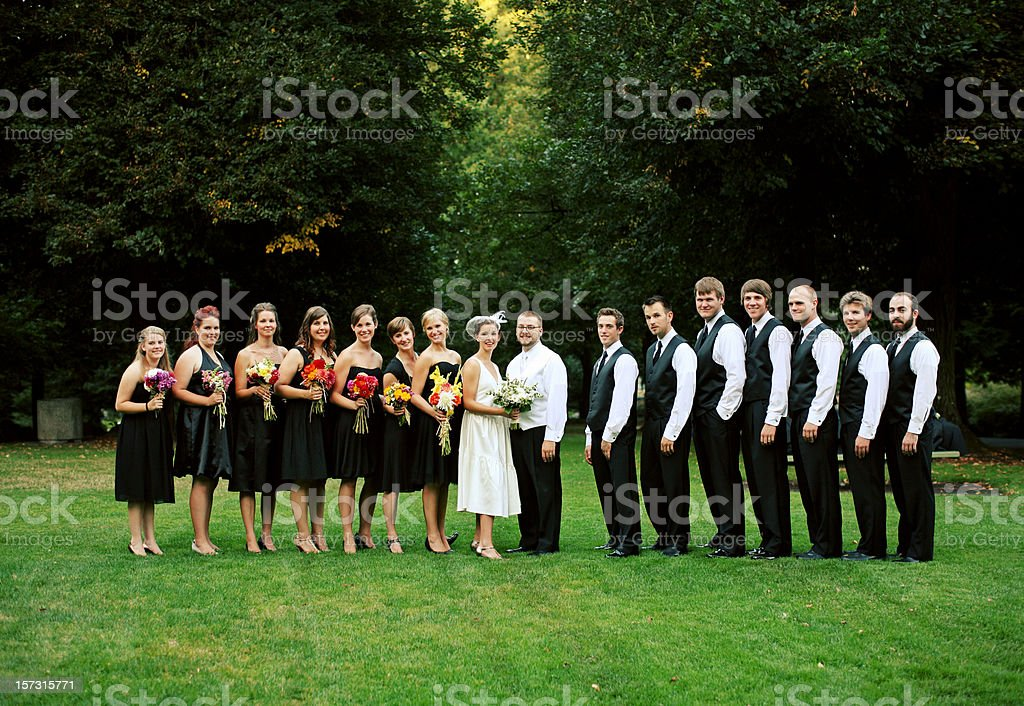 Full Wedding Party in Line at a Park royalty-free stock photo