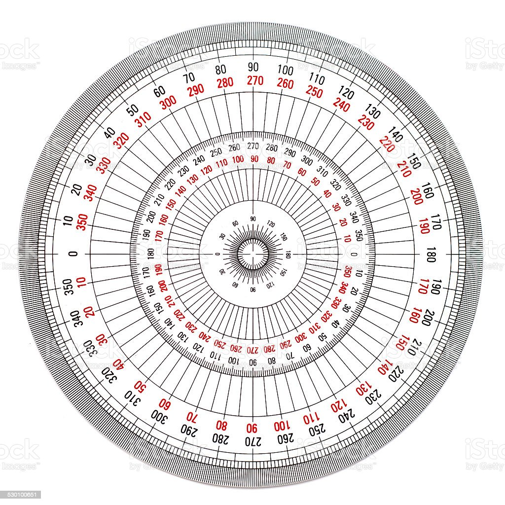 Full-Circle protractor isolated on white background stock photo