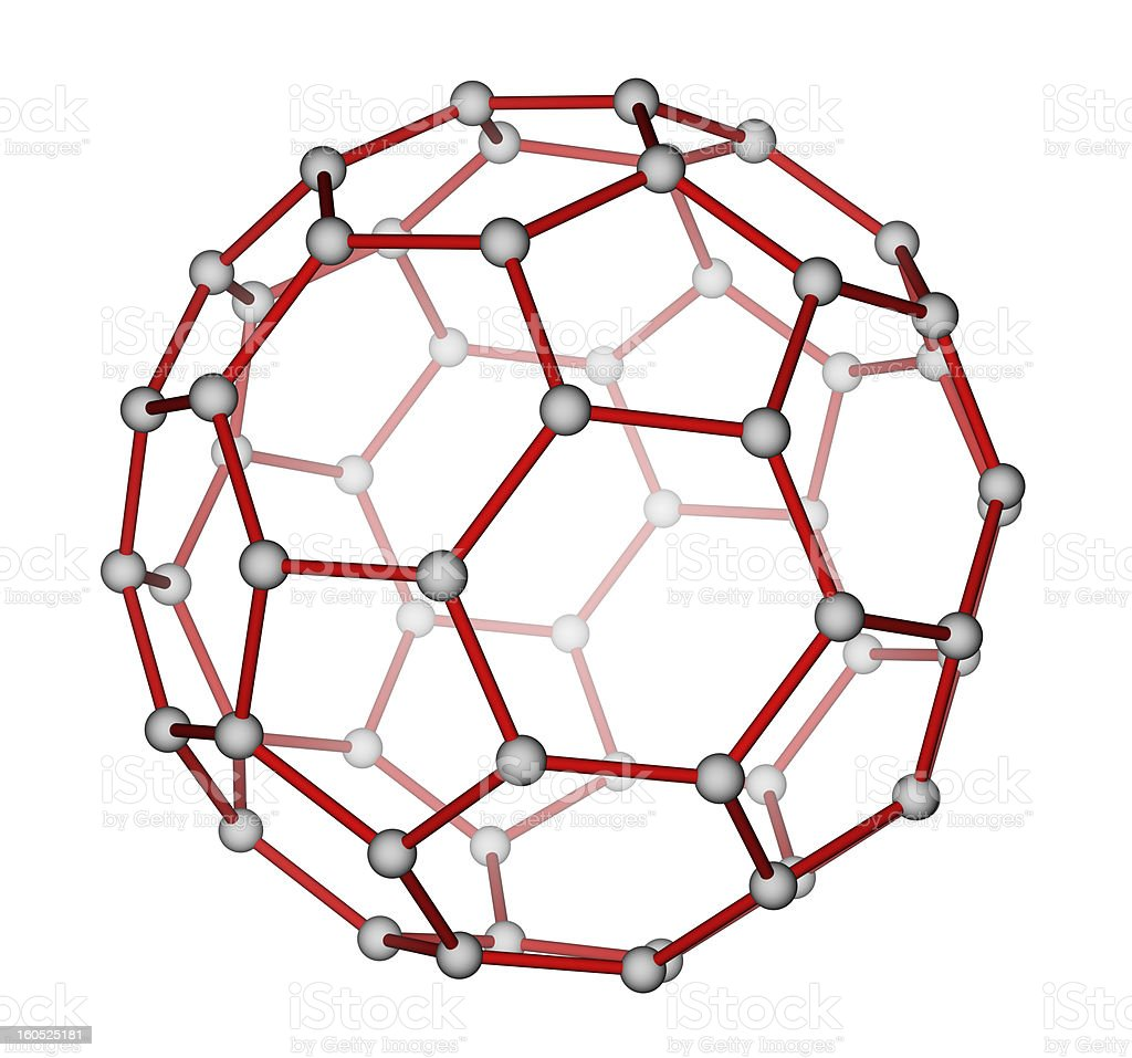 Fullerene C60 molecular structure stock photo