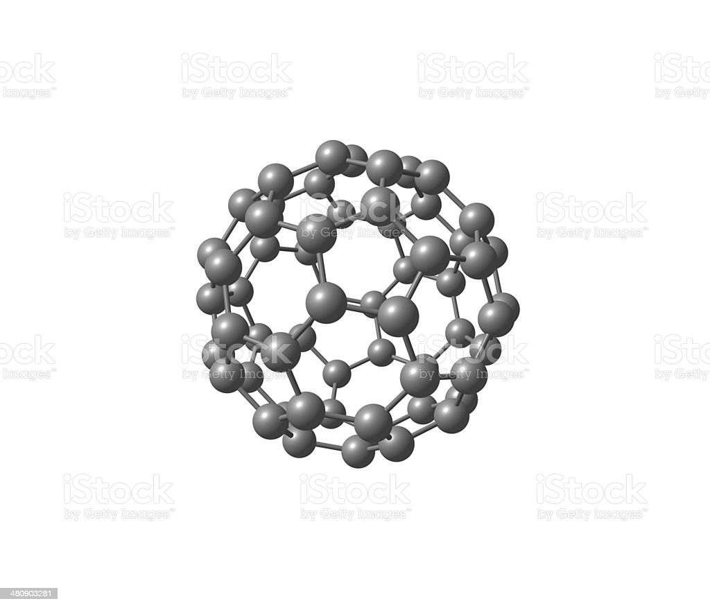 Fullerene molecule illustration isolated on white stock photo