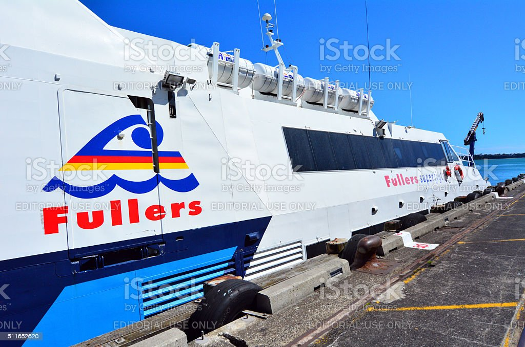 Fullers MV Quick Cat ferry mooring in Auckland New Zealand stock photo