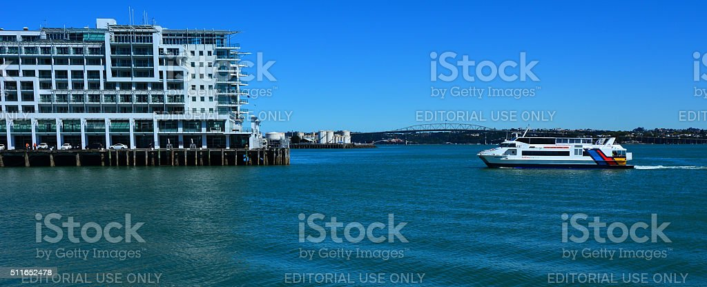 Fullers MV Quick Cat ferry sail near Princes Wharf stock photo