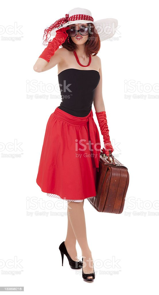 Full-length girl in retro style with suitcase stock photo