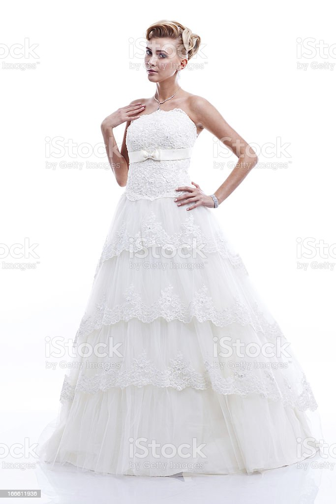 full-length portrait of bride. isolated on white background royalty-free stock photo