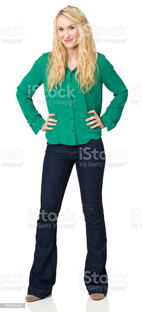 Full-Length Portrait Of Young Woman royalty-free stock photo