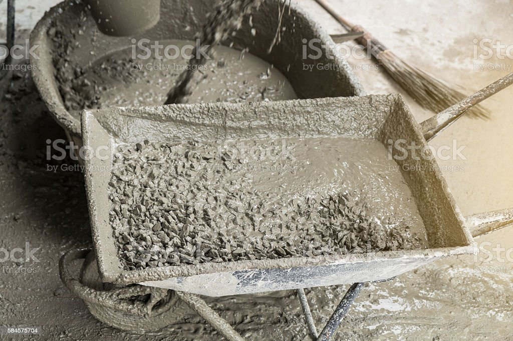 Fully cement concrete in cart mortar stock photo