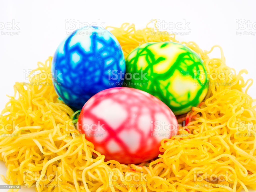 fully decoration of boil eggs on yellow noodle royalty-free stock photo