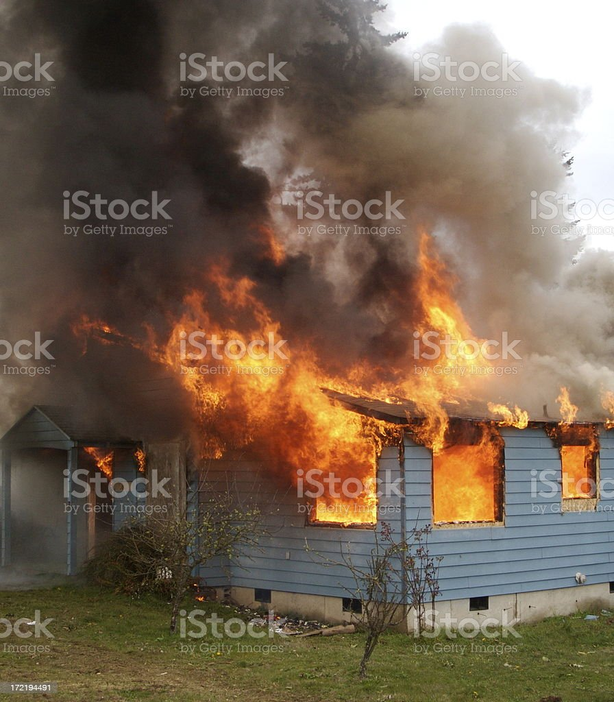 Fully Involved House Fire royalty-free stock photo