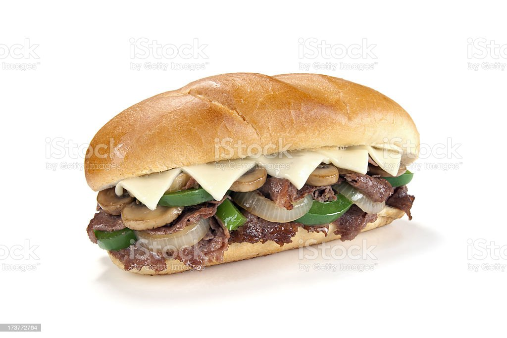 Fully Loaded Philly Cheese Steak Sandwich royalty-free stock photo