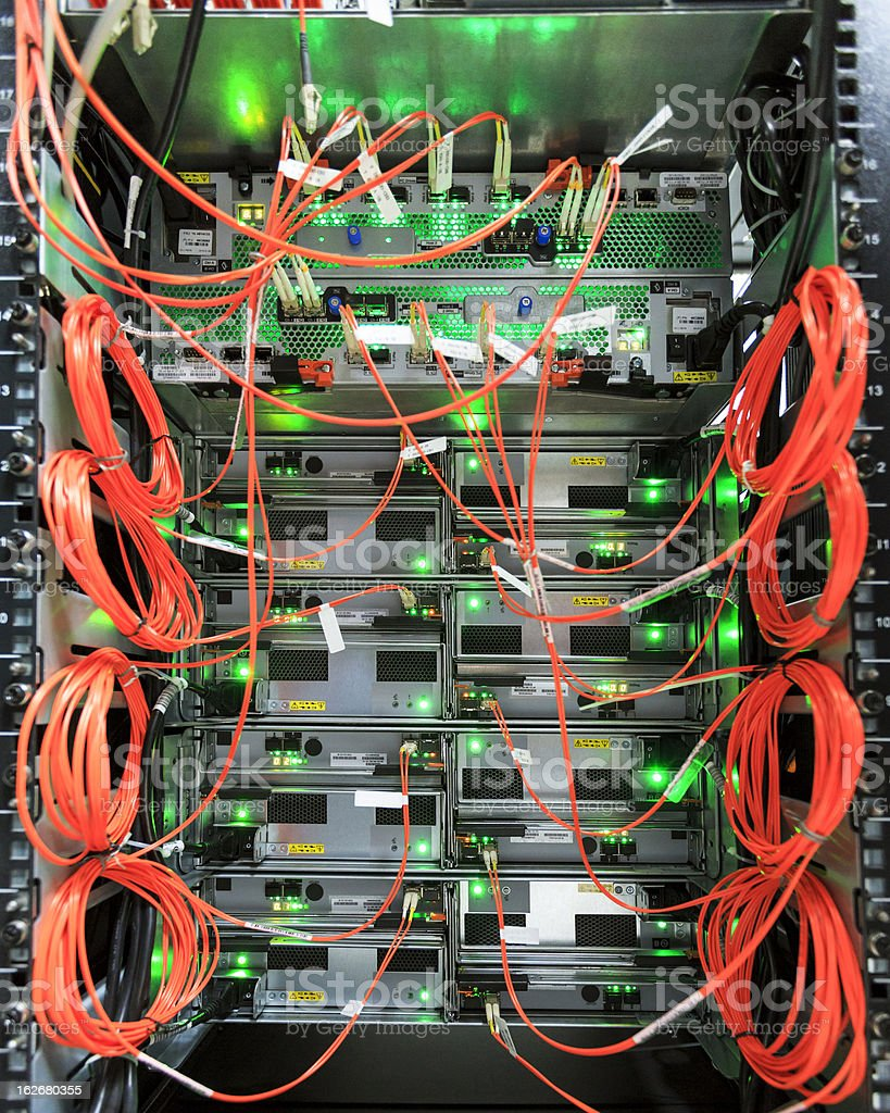 Fully wired network switch panel royalty-free stock photo