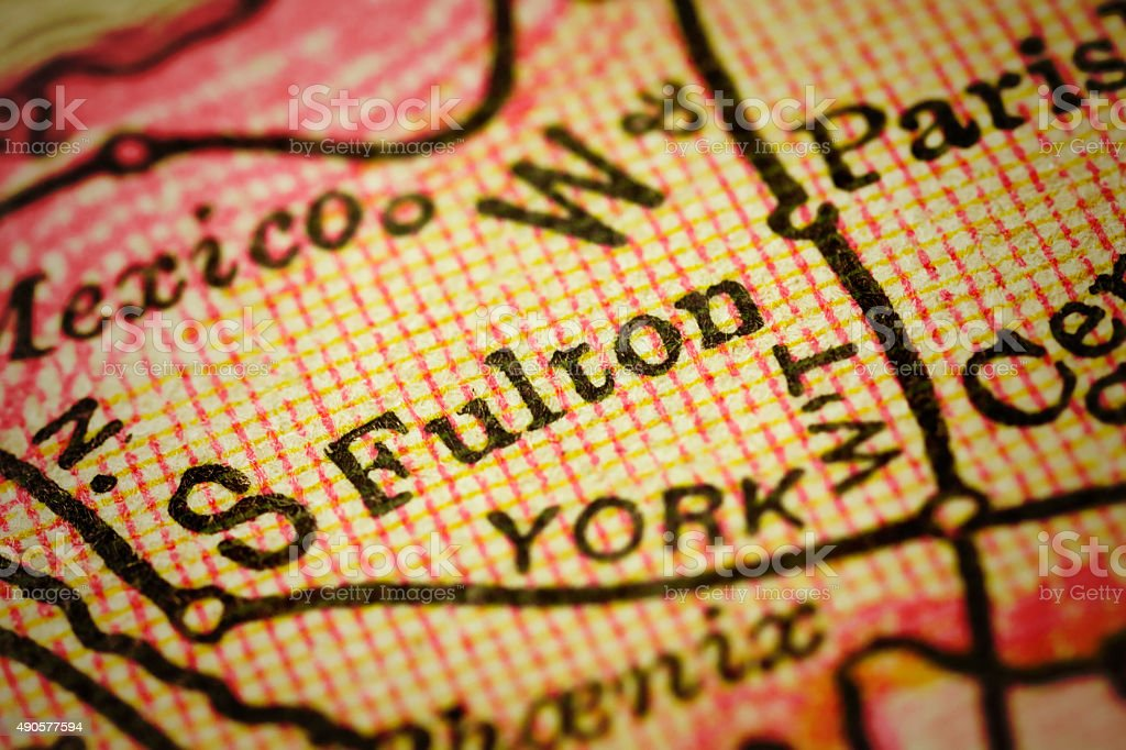 Fulton, New York on an Antique map stock photo