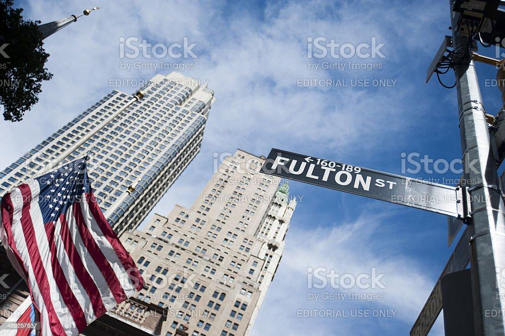 Fulton street sign - Manhattan royalty-free stock photo