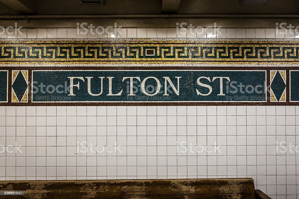 Fulton Street Station Subway Tile Mosaic stock photo