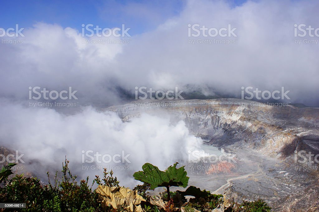 Fumarole activity at the Poás crater stock photo