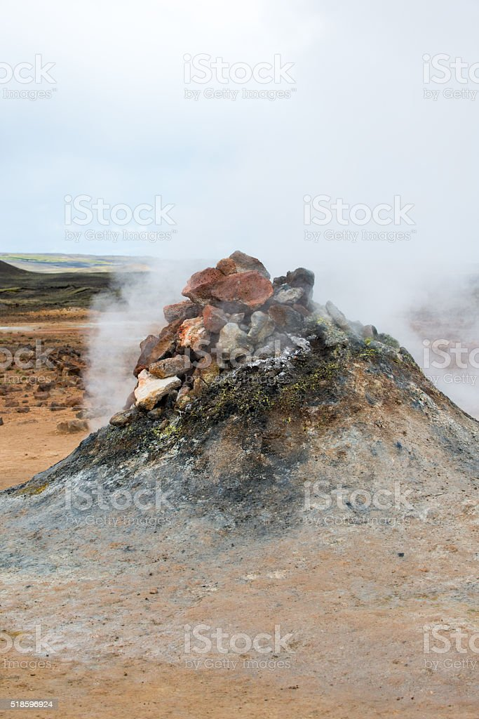 Fumarole and geysers in the geothermal area Hverir, Northern Iceland stock photo