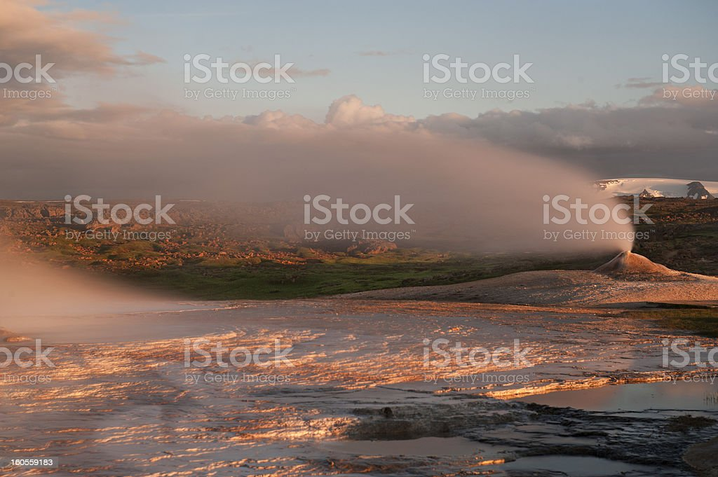 Fumarole in last light of day. Iceland, Summer 2012 royalty-free stock photo
