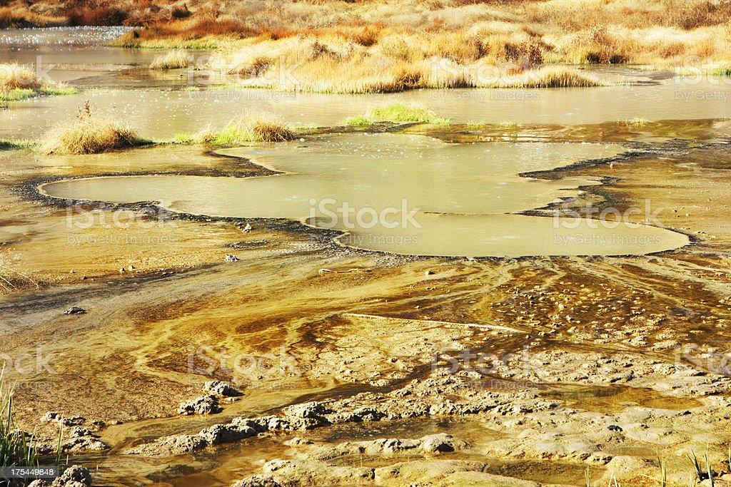 Fumarole Mud Pot Geyser Spring Yellowstone stock photo