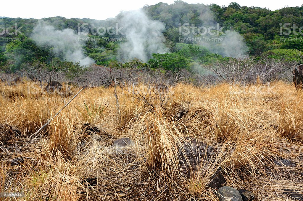 Fumaroles in Costa Rica stock photo