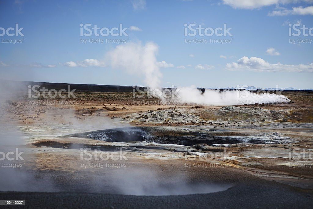 Fumaroles in the Sun - Hverir Hot Springs, Iceland royalty-free stock photo