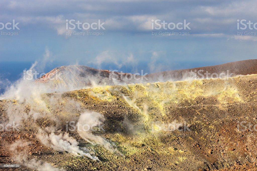 Fumaroles on Vulcano, Aeolian Islands, Sicily stock photo