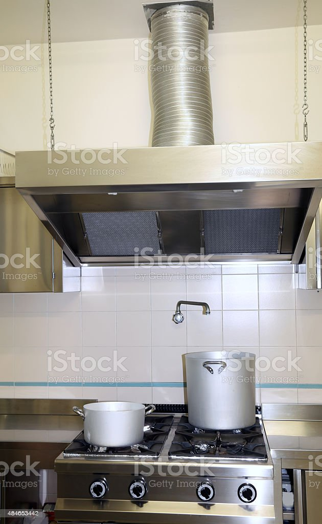 fume Extractor hood in the industrial kitchen stock photo