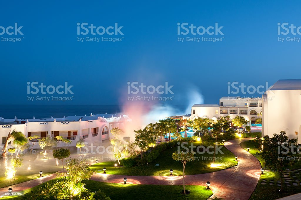 Fumigation against mosquitos at hotel resort royalty-free stock photo
